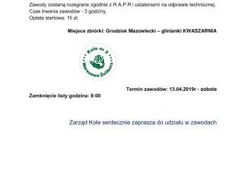 KOMUNIKAT NR 1 - TZ SPŁAWIKOWE z OKAZJI TCW-13.04.2019r